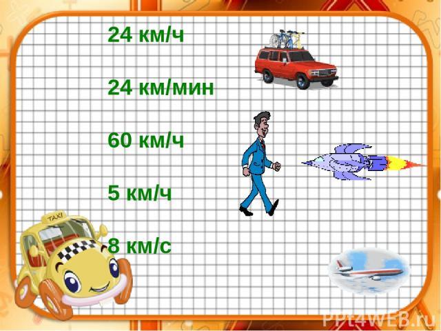 24 км/ч 24 км/мин 60 км/ч 5 км/ч 8 км/с