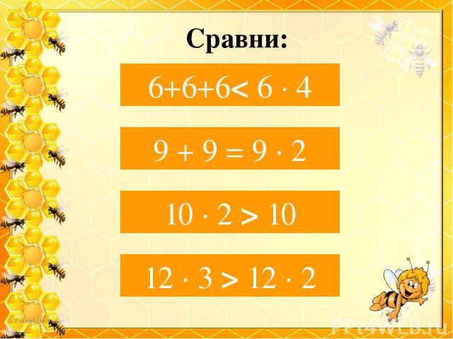 Сравни: 6+ 6+6… 6 ∙ 4 6+6+6< 6 ∙ 4 9 + 9…9 ∙ 2 9 + 9 = 9 ∙ 2 10 ∙ 2… 10 10 ∙ 2 > 10 12 ∙ 3…12 ∙ 2 12 ∙ 3 > 12 ∙ 2