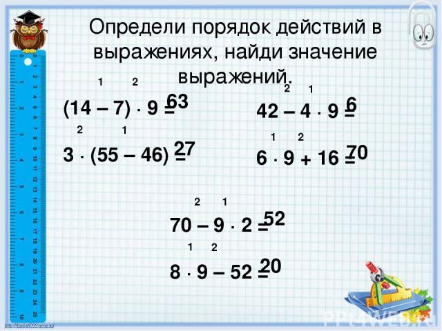 Определи порядок действий в выражениях, найди значение выражений. (14 – 7) ∙ 9 = 3 ∙ (55 – 46) = 1 2 1 2 42 – 4 ∙ 9 = 6 ∙ 9 + 16 = 63 27 1 2 6 1 2 70 70 – 9 ∙ 2 = 8 ∙ 9 – 52 = 1 2 52 1 2 20