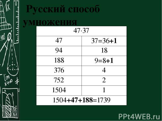 Русский способ умножения 47·37 47 37=36+1 94 18 188 9=8+1 376 4 752 2 1504 1 1504+47+188=1739