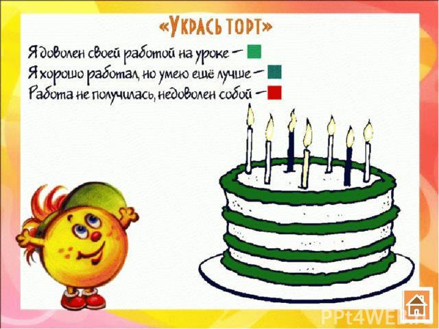 IV. Итог урока. Рефлексия Регулятивные УУД: оценивают уровень овладения знаниями. Что нового для себя вы узнали сегодня на уроке? Что вызвало затруднения? Над чем следует поработать еще? (Ответы детей.) Упражнение «Укрась торт»: Я доволен своей рабо…