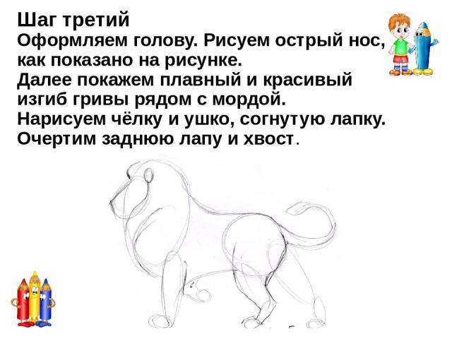 Шаг пятый В этом шаге уделим внимание голове, гриве. Проведём линии более яркие, чёткие. Лев получается с характером, а грива густая-густая.