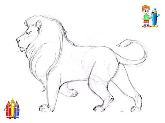 Шаг второй. Добавим ещё две ноги и обведём контуры тела. Хвост у рыси небольшой. На голове рисуем ушки и круглый нос.