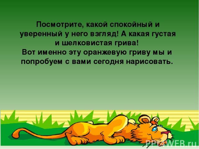 Посмотрите, какой спокойный и уверенный у него взгляд! А какая густая и шелковистая грива! Вот именно эту оранжевую гриву мы и попробуем с вами сегодня нарисовать.