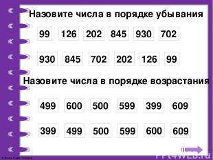 Назовите числа в порядке убывания 99 126 202 845 930 702 99 126 202 845 930 702