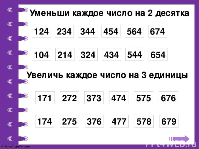 Уменьши каждое число на 2 десятка 124 234 344 454 564 674 104 214 324 434 544 654 Увеличь каждое число на 3 единицы 171 272 373 474 575 676 174 275 376 477 578 679 © Фокина Лидия Петровна