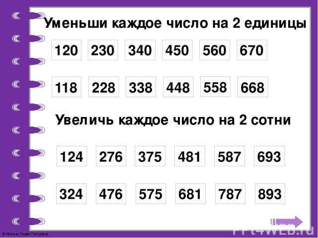 Уменьши каждое число на 2 единицы 120 230 340 450 560 670 118 228 338 448 558 668 Увеличь каждое число на 2 сотни 124 276 375 481 587 693 324 476 575 681 787 893 © Фокина Лидия Петровна