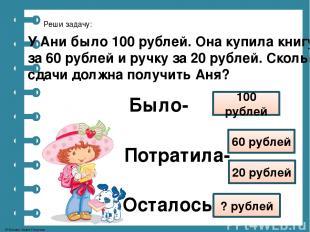 Реши задачу: У Ани было 100 рублей. Она купила книгу за 60 рублей и ручку за 20