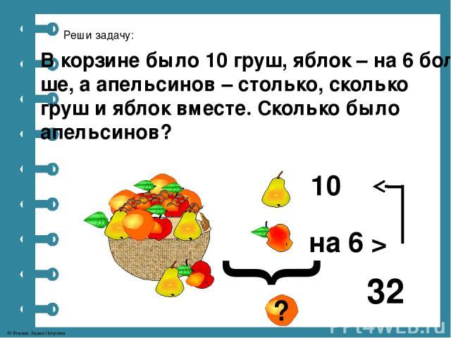 Реши задачу: В корзине было 10 груш, яблок – на 6 боль- ше, а апельсинов – столько, сколько груш и яблок вместе. Сколько было апельсинов? 10 на 6 > } ? 32 © Фокина Лидия Петровна