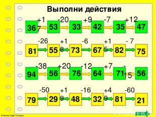 Выполни действия 36 47 +17 -20 +9 -7 +12 53 33 42 35 81 75 -26 +18 -6 +15 - 7 55