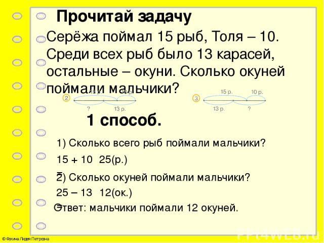 Прочитай задачу Серёжа поймал 15 рыб, Толя – 10. Среди всех рыб было 13 карасей, остальные – окуни. Сколько окуней поймали мальчики? 1 способ. 1) Сколько всего рыб поймали мальчики? 15 + 10 = 25(р.) 2) Сколько окуней поймали мальчики? 25 – 13 = 12(о…
