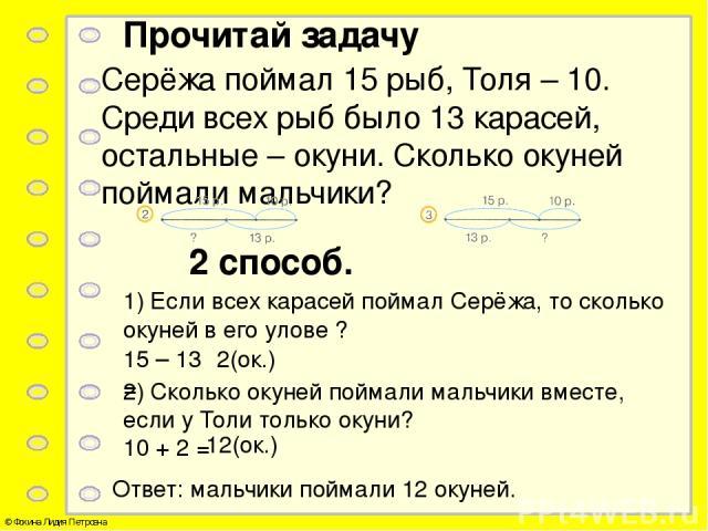 Прочитай задачу Серёжа поймал 15 рыб, Толя – 10. Среди всех рыб было 13 карасей, остальные – окуни. Сколько окуней поймали мальчики? 2 способ. 1) Если всех карасей поймал Серёжа, то сколько окуней в его улове ? 15 – 13 = 2(ок.) 2) Сколько окуней пой…