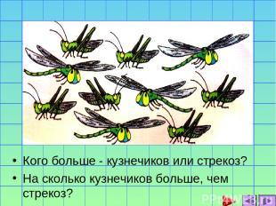 Кого больше - кузнечиков или стрекоз? На сколько кузнечиков больше, чем стрекоз?