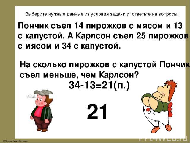 Выберите нужные данные из условия задачи и ответьте на вопросы: Пончик съел 14 пирожков с мясом и 13 с капустой. А Карлсон съел 25 пирожков с мясом и 34 с капустой. На сколько пирожков с капустой Пончик съел меньше, чем Карлсон? 21 34-13=21(п.) © Фо…