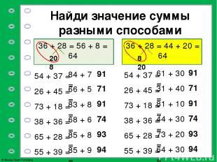 Найди значение суммы разными способами 20 8 8 20 54 + 37 = 26 + 45 = 73 + 18 = 3