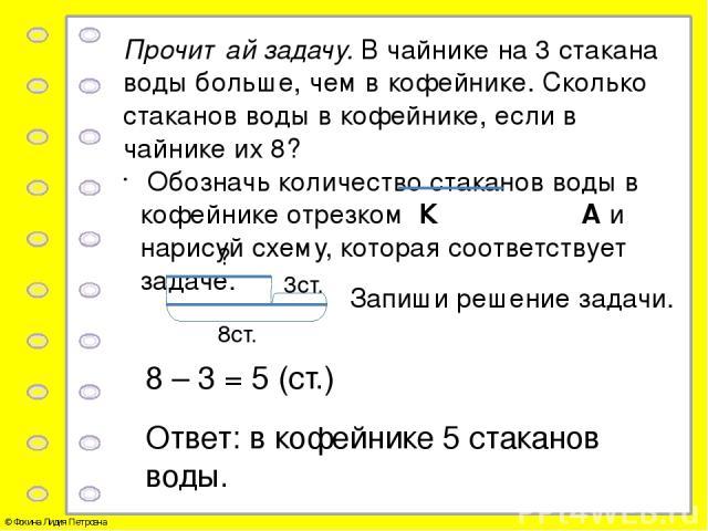 Прочитай текст: «Из корзины взяли 7 яблок. Сколько яблок осталось в корзине, если … ?» Выбери данные и дополни текст так, чтобы получилась задача, которую можно решить. Запиши решение задачи. 14 – 7 = 7 (ябл.) Ответ: в корзине осталось 7 яблок. В ко…