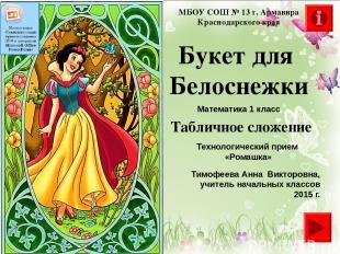 Букет для Белоснежки МБОУ СОШ № 13 г. Армавира Краснодарского края Математика 1