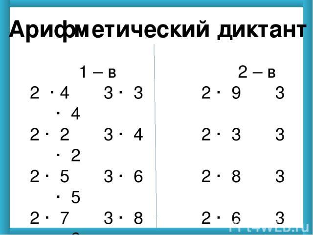 Арифметический диктант 1 – в 2 – в 2 · 4 3 · 3 2 · 9 3 · 4 2 · 2 3 · 4 2 · 3 3 · 2 2 · 5 3 · 6 2 · 8 3 · 5 2 · 7 3 · 8 2 · 6 3 · 9