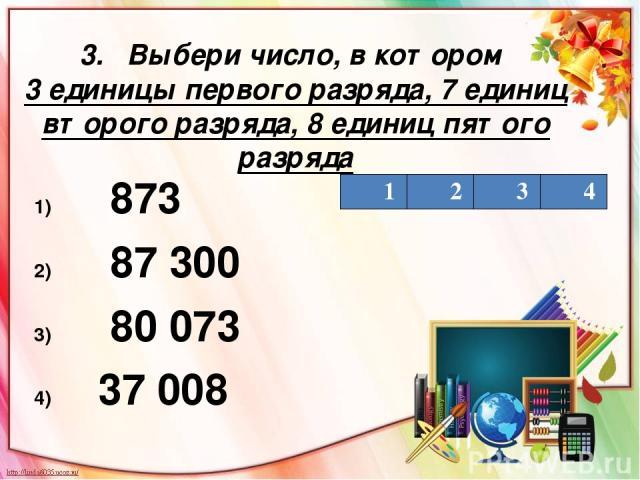 3. Выбери число, в котором 3 единицы первого разряда, 7 единиц второго разряда, 8 единиц пятого разряда 873 87 300 80 073 37 008 1 2 3 4