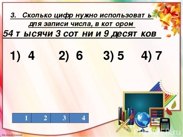 3. Сколько цифр нужно использовать для записи числа, в котором 54 тысячи 3 сотни и 9 десятков 1) 4 2) 6 3) 5 4) 7 1 2 3 4