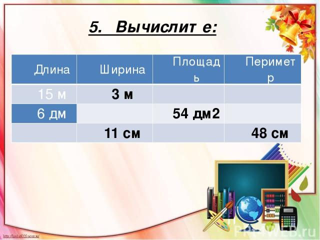 5. Вычислите: Длина Ширина Площадь Периметр 15 м 3 м   6дм  54 дм2   11 см  48 см