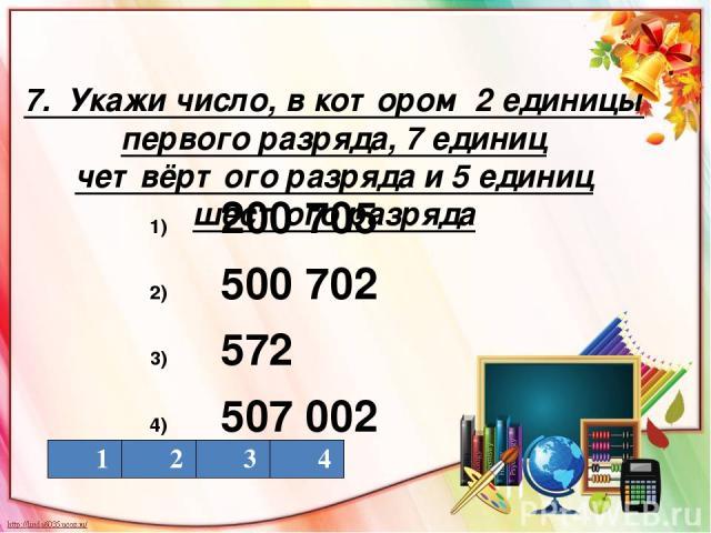 7. Укажи число, в котором 2 единицы первого разряда, 7 единиц четвёртого разряда и 5 единиц шестого разряда 200 705 500 702 572 507 002 1 2 3 4