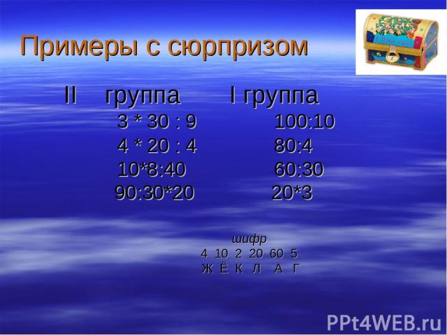 Примеры с сюрпризом II группа I группа 3 * 30 : 9 100:10 4 * 20 : 4 80:4 10*8:40 60:30 90:30*20 20*3 шифр 4 10 2 20 60 5 Ж Ё К Л А Г