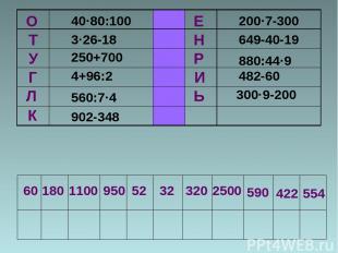 У Г Л К О Т 40·80:100 3·26-18 250+700 4+96:2 560:7·4 902-348 Е Н Р И Ь 200·7-300
