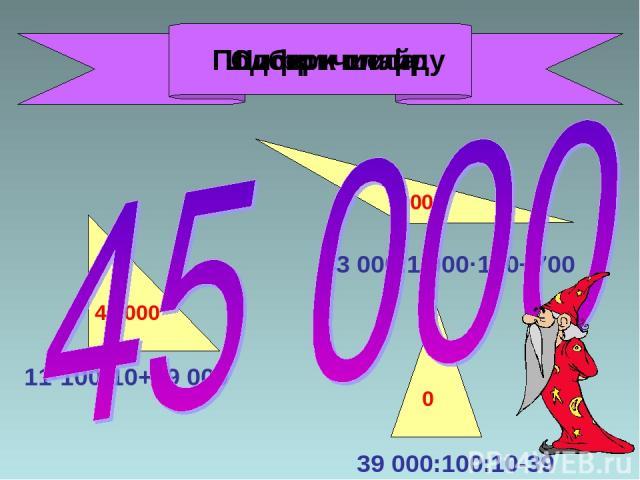 11·100·10+29 000 43 000:1 000·100+700 39 000:100:10-39 40 000 5 000 0 Подбери шифр Сложи числа Шифр к слайду