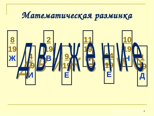 * Математическая разминка 8 19 Ж 4 19 И 2 19 В 9 19 Е 11 19 И 14 19 Е 10 19 Н 1 19 Д