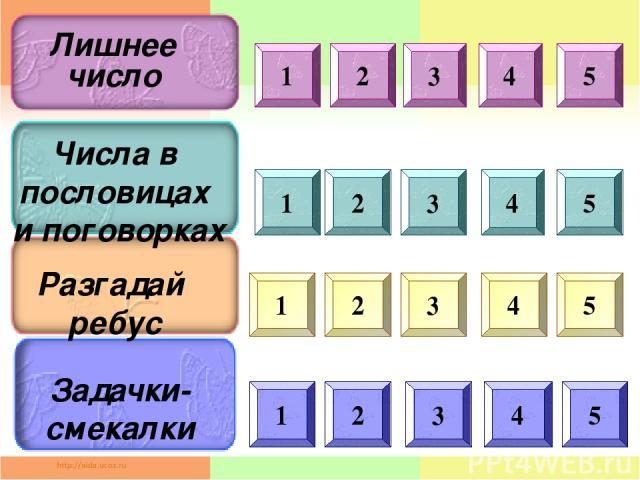 1 2 3 1 4 5 2 3 4 5 1 2 3 4 5 1 2 3 4 5 Лишнее число Числа в пословицах и поговорках Разгадай ребус Задачки- смекалки