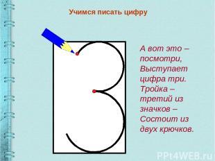 Учимся писать цифру А вот это – посмотри, Выступает цифра три. Тройка – третий и