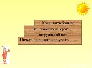 Ничего не понятно на уроке Всё понятно на уроке, затруднений нет Хочу знать боль