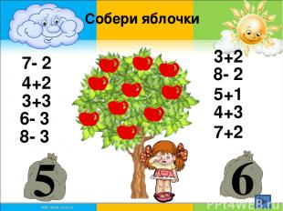 7- 2 4+2 3+3 3+2 6- 3 8- 2 5+1 4+3 7+2 5 6 Собери яблочки 8- 3