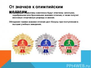 От значков к олимпийским медалям Выполнившие нормативы комплекса будут отмечены