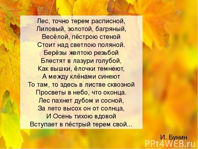 И. Бунин Лес, точно терем расписной, Лиловый, золотой, багряный, Весёлой, пёстрою стеной Стоит над светлою поляной. Берёзы желтою резьбой Блестят в лазури голубой, Как вышки, ёлочки темнеют, А между клёнами синеют То там, то здесь в листве сквозной …