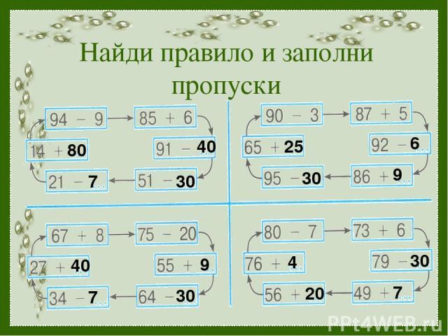 Найди правило и заполни пропуски 40 30 7 80 9 30 7 40 6 9 30 25 30 7 20 4 ТПО -1 №148 стр.63