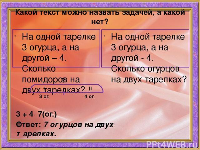 Какой текст можно назвать задачей, а какой нет? На одной тарелке 3 огурца, а на другой – 4. Сколько помидоров на двух тарелках? На одной тарелке 3 огурца, а на другой - 4. Сколько огурцов на двух тарелках? I II 3 ог. 4 ог. ? 3 + 4 = 7(ог.) Ответ: 7 …