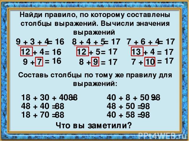 Найди правило, по которому составлены столбцы выражений. Вычисли значения выражений 9 + 3 + 4 12 + 4 9 + 7 8 + 4 + 5 12 + 5 8 + 9 7 + 6 + 4 13 + 4 7 + 10 = 16 = 16 = 16 = 17 = 17 = 17 = 17 = 17 = 17 Составь столбцы по тому же правилу для выражений: …