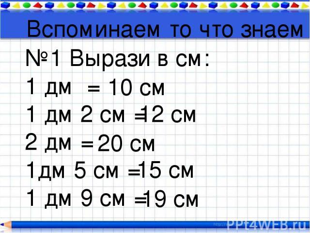 Вспоминаем то что знаем №1 Вырази в см: 1 дм = 1 дм 2 см = 2 дм = 1дм 5 см = 1 дм 9 см = 10 см 12 см 20 см 15 см 19 см