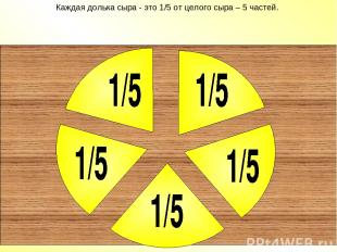 Каждая долька сыра - это 1/5 от целого сыра – 5 частей.
