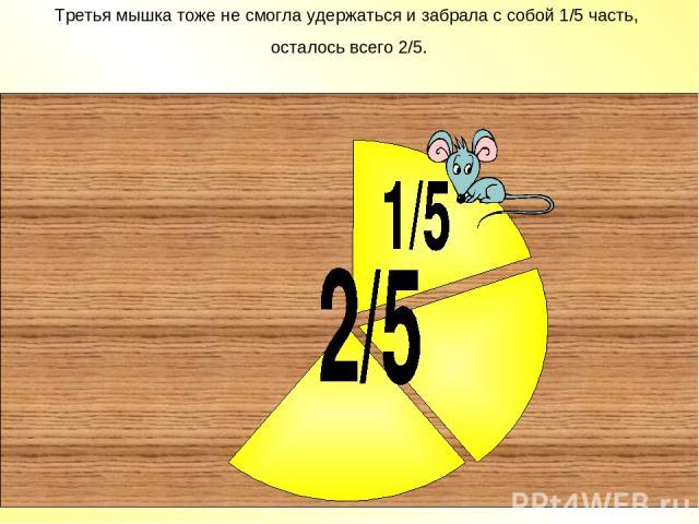 Третья мышка тоже не смогла удержаться и забрала с собой 1/5 часть, осталось всего 2/5.