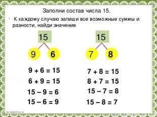 Заполни состав числа 15. 15 15 9 7 6 8 К каждому случаю запиши все возможные сум