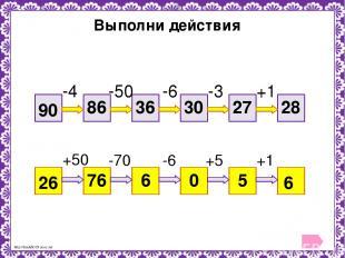 Выполни действия 90 28 -4 -50 -6 -3 +1 86 36 30 27 26 6 +50 -70 -6 +5 +1 76 6 0