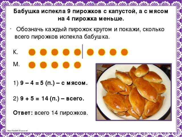 Бабушка испекла 9 пирожков с капустой, а с мясом на 4 пирожка меньше. Обозначь каждый пирожок кругом и покажи, сколько всего пирожков испекла бабушка. К. М. 1) 9 – 4 = 5 (п.) – с мясом. 2) 9 + 5 = 14 (п.) – всего. Ответ: всего 14 пирожков. http://li…