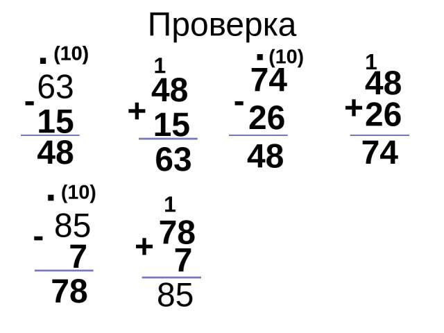 Проверка 63 + - 15 48 (10) + 48 15 63 48 26 74 . 1 1 74 - 26 48 . (10) (10) (10) . - 85 7 78 78 1 7 + 85