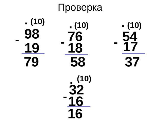 Проверка 98 19 79 - . (10) 76 - - 18 (10) . . . (10) (10) 58 37 17 54 16 16 32 -