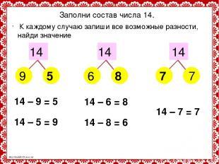 Заполни состав числа 14. 14 14 14 9 6 7 5 8 7 К каждому случаю запиши все возмож