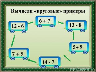 Вычисли «круговые» примеры 12 - 6 6 + 7 13 - 8 5+ 9 14 - 7 7 + 5