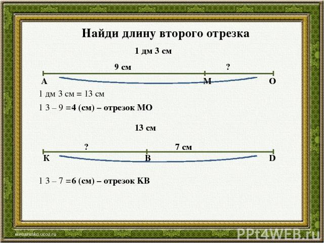 Найди длину второго отрезка 1 дм 3 см 9 см ? А М О 1 дм 3 см = 13 см 1 3 – 9 = 4 (см) – отрезок МО 13 см 7 см ? К В D 1 3 – 7 = 6 (см) – отрезок KB